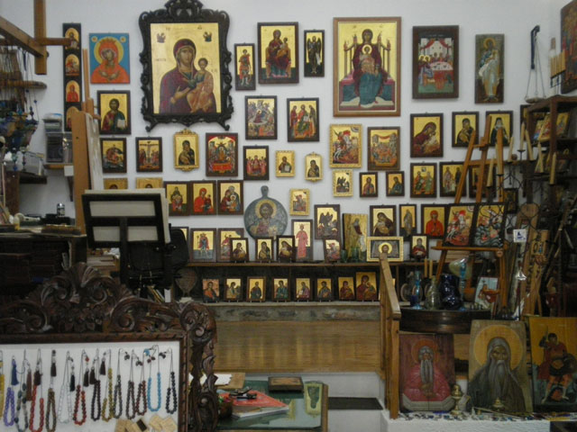 Interior of Greek Icon workshop and studio of Ioannis Petrakis